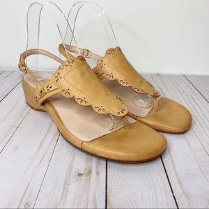 TARYN ROSE Tan Leather Kingston Thong Sandals Sz 8